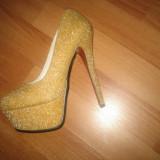 Pantofi - Mei - Pantof dama Mavi, Culoare: Auriu, Marime: 37, Auriu