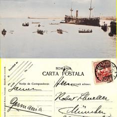 Constanta- Crucisatorul Elisabeta in port- tema militara, razboi, vapoare - rara - Carte Postala Dobrogea pana la 1904, Circulata, Printata