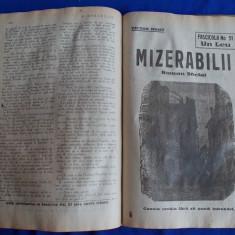 MIZERABILII DE VICTOR HUGO - ROMAN SOCIAL IN 63 DE FASCICULE - 1922/1923 - Carte de colectie