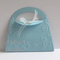 Invitatie botez/ nunta - poseta cu flori cires