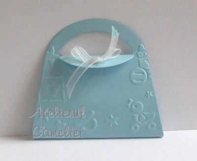 Invitatie botez/ nunta - poseta cu flori cires foto