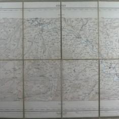 2 - HARTA VECHE MILITARA ELVETIANA 1879 - TIMBRU SEC DREAPTA JOS - FORMATA DIN 8 SEGMENTE PE SUPORT DE PANZA - DIM. 44 X 34 CM, PLIABILA LA 18 X 11 CM