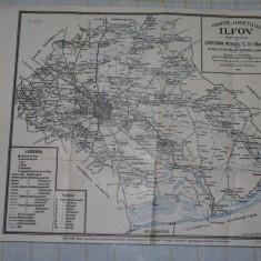 Harta judetului Ilfov - Editie oficiala de CapitanPantea - sc 1:400.000 - 1920 - Harta Romaniei