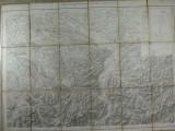 HARTA VECHE MILITARA ELVETIANA 1867 - DIM. 74 X 57 CM ,PLIABILA LA 19 X 13 CM