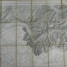 HARTA VECHE MILITARA ELVETIANA  1871 - DIM. 74 X 57 CM ,PLIABILA LA 19 X 13 CM
