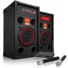 SISTEM KARAOKE COMPUS DIN BOXE ACTIVE/AMPLIFICATE,MP3 PLAYER STICK/CARD+2 MICROFOANE WIRELESS.