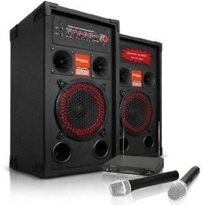 SISTEM KARAOKE COMPUS DIN BOXE ACTIVE/AMPLIFICATE,MP3 PLAYER STICK/CARD+2 MICROFOANE WIRELESS. foto