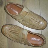pantofi bej, marimea 43 interior piele naturala , exterior piele ecologica, model de vara