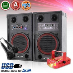 BOXE ACTIVE/AMPLIFICATE+MIXER INCLUS,EFECTE VOCE+INTRARI MIC.+MP3 PLAYER+2 MICROFOANE+LASER DISCO!