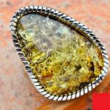 IMPUNATOR inel de argint 925 cu ambra baltica verde, D=17, 35 mm, (USA 7, EU 54) - Inel argint, 46 - 56