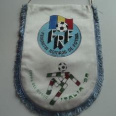 Fanion (format mare) fotbal ROMANIA la Campionatul Mondial Italia 1990 - Fanion fotbal