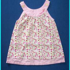 Rochita de vara, roz cu floricele, SMART GIRL _ fetite | 9 - 12 luni | 74 cm, Culoare: Multicolor