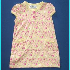 Rochita de vara, fetite, bumbac, floricele roz, OKAY _ fetite | 9 - 12 luni, Marime: Alta, Culoare: Galben