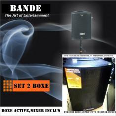 BOXE ACTIVE/AMPLIFICATE +MIXER +MP3 PLAYER+2 MICROFOANE BONUS. 300  .