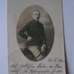 FOTOGRAFIE CU OFITER AUSTRO-UNGAR DIN 1914 - Fotografie veche