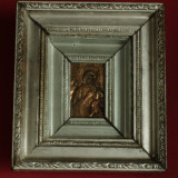 icoana veche deosebita din lemn si metal