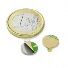 Magnet neodim disc cu autoadeziv, diametru 10 mm, putere 500 g