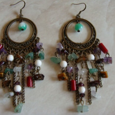 Cercei candelabru din bronz cu semipretioase - Cercei Fashion