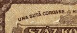 ROMANIA BANCNOTA DE 100 UNA SUTA COROANE 1923 UNGARIA MATEI CORVIN UNC