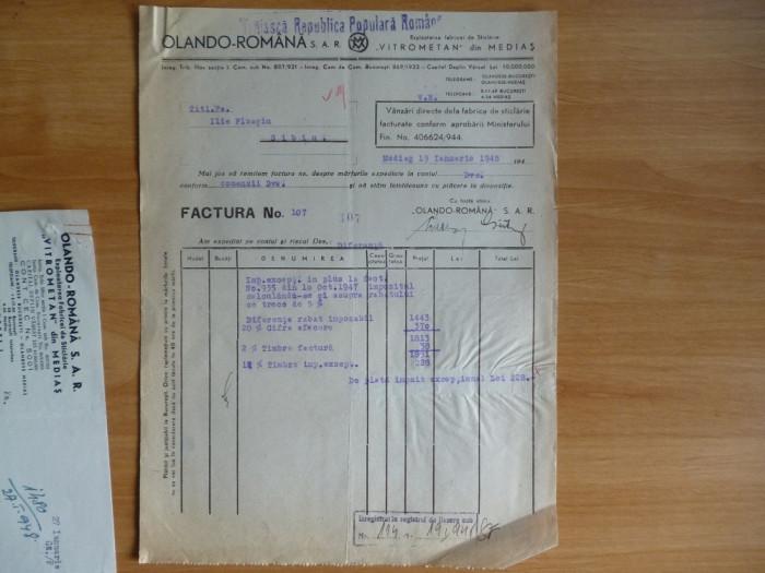 Factura MEDIAS , VITROMETAN , Exploatarea Fabricei de Sticlarie  1948