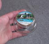 Recipient, cutiuta sticla cu capac, veche