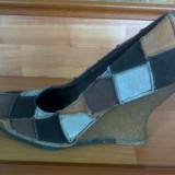 Pantofi platforma - Pantof dama, Culoare: Multicolor, Marime: 37, Multicolor