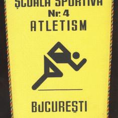 Fanion SCOALA SPORTIVA Nr.4 ATLETISM BUCURESTI 1968-1978 - Fanion atletism