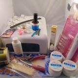 Kit Unghii false Sina, Set aplicare Unghii false Sina, Kit lampa UV geluri si freza