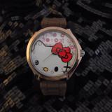 Ceas Hello Kitty calitate inalta model deosebit curea silicon maro cutie cadou - Ceas barbatesc, Quartz