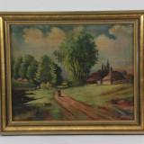 Peisaj ulei pe carton vechi 1954 semnat - Pictor roman, Peisaje, Realism