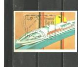 CAMBODGIA 1988 - LOCOMOTIVA SI TREN DE MARE VITEZA, bloc stampilat, D15, Transporturi