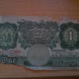 Anglia 1 lira sterlina 1928, 20 roni, ultra uzata, este cea din fotografie, lipsesc bucati din ea, necirculata tot pe okazii, aproape 500 roni