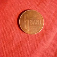 Moneda 5 Bani 2005 metal cuprat, cal.apr.NC, luciu batere - Moneda Romania