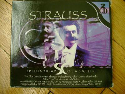 Dublu Album 2 CD slipcase Strauss - Spectacular Classics Austrian Radio Symphony Orchestra simfonie waltz polka vals mars Dunarea albastra 20 melodii foto