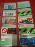 Lot 20 cartele telefonice Anglia BT + folie de plastic+ taxele postale = 30 roni