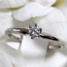 Inel logodna DIAMANT 0.12ct, aur alb 14k - Inel de logodna