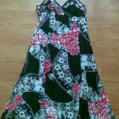 Rochie de zi marimea L, cu imprimeu floral!, Marime: 40, Culoare: Negru, Cu bretele, Poliester