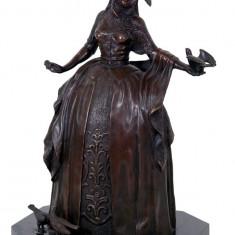DOAMNA VENETIANA - STATUETA DIN BRONZ PE SOCLU DIN MARMURA - sculptura reproducere