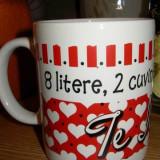 Cană inimi cu mesaj 8 litere, 2 cuvinte, 1 singur inteles: Te Iubesc. - Arta Ceramica