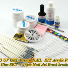 Kit unghii false kit manichiura kit gel uv CEL MAI MIC PRET! 15 pensule aplicare gel uv pictura unghii nail art 4 gel uv pila unghii lipici topcoat, Sina