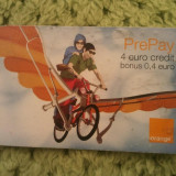 Cartela telefonica Orange Prepay 4 euro, UZATA !!!, 1 ron - Cartela telefonica romaneasca