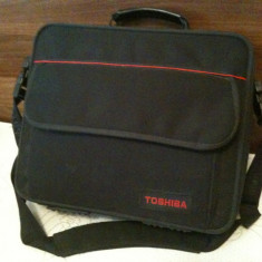 Geanta laptop Toshiba originala, Geanta de umar, Nailon, Negru