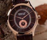 Ceas de Lux HAAS et CIE ORIGINAL extraplat 8 mm , placat cu AUR , macanism SWISS MADE, Lux - elegant, Quartz