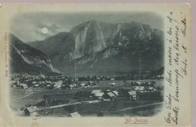 CPI (B2511) AUSTRIA, ALT-AUSSEE, EDITURA STENGEL & Co, DRESDEN, CIRCULATA 25. IUL. 1900, STAMPILA SINAIA CU GOARNA, TIMBRU foto