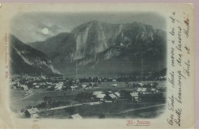 CPI (B2511) AUSTRIA, ALT-AUSSEE, EDITURA STENGEL & Co, DRESDEN, CIRCULATA 25. IUL. 1900, STAMPILA SINAIA CU GOARNA, TIMBRU