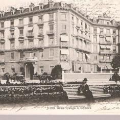 CPI (B2494) GENEVE, HOTEL BEAU RIVAGE A GENEVE, CIRCULATA 30.12. 1905, STAMPILE, TIMBRU, Europa, Printata