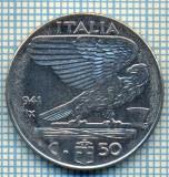 498 MONEDA - ITALIA - 50 CENTESIMI -anul 1941 - magnetica -eroare de batere la cifra unu a miilor, datorat uzurii matritei -starea care se vede