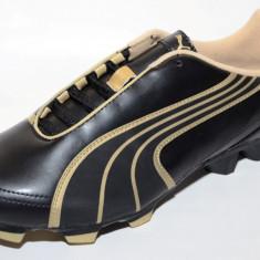 Ghete fotbal gazon Puma 10230301, ORIGINALE, negru, auriu, Marime: 38.5