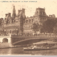 CPI (B2490) FRANTA, PARIS. L'HOTEL DE VILLE ET LE PONT D'ARCOLE, CIRCULATA 21.11.1913, STAMPILA, TIMBRE, Europa, Printata