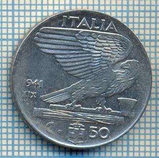 507 MONEDA - ITALIA - 50 CENTESIMI -anul 1941 - magnetica -eroare de batere la cifra unu a miilor, datorata uzurii matritei -starea care se vede foto